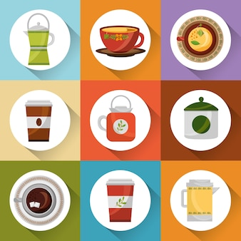 Кофе и чай время набор чайник чайник чашки