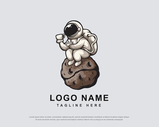 커피 우주 비행사 캐릭터 로고 디자인