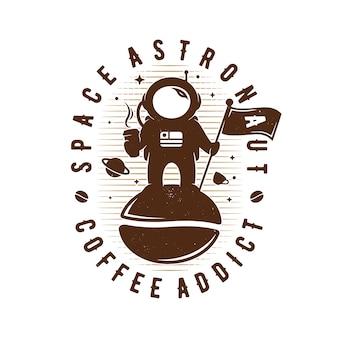 Логотип эмблемы кофе астронавта