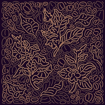 커피 배경 그래픽 패턴 아트 라인 장식 추상 나무 황금 지점 잎 콩 곡물