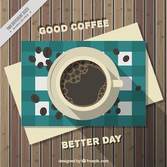 나무 테이블에 원두 커피와 커피 배경