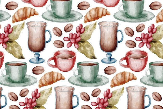 Coffee background with cups and glasses