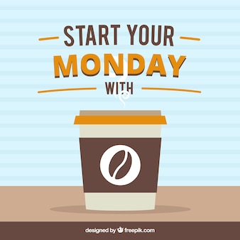 Coffee background with monday phrase
