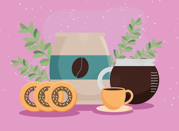 Пакетик кофе и пончики