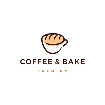 Coffee and bake bread logo icon illustration