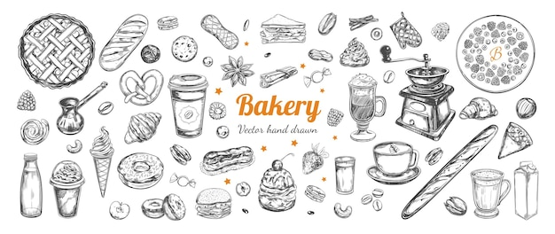 Coffee and bakery  hand drawn elements template with vintage sketch illustrations