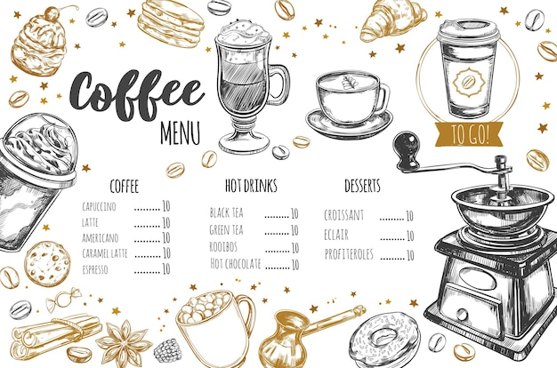 Coffee and bakery restaurant menu
