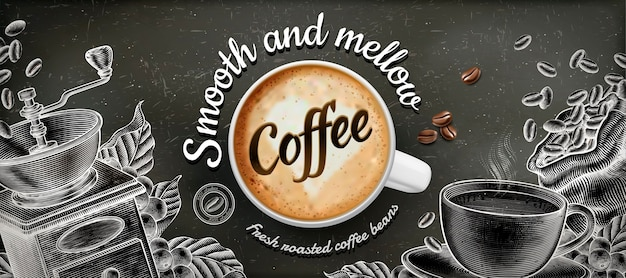 Coffee banner ads with  illustratin latte and woodcut style decorations on chalkboard background