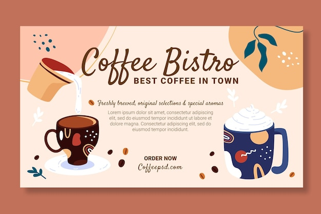 Coffee banner design template with delicious drinks