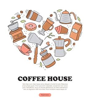흰색 바탕에 다양한 커피 메이커와 디저트가 있는 커피 배너. 낙서 스케치 스타일. 커피숍, 카페에 대한 벡터 그림입니다. 귀여운 만화 사진.
