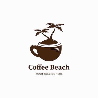 コーヒービーチのロゴ、ビーチ島のロゴアイコンイラストとコーヒーカップ