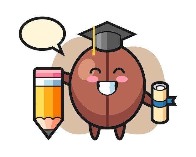 巨大な鉛筆でコーヒー豆漫画卒業