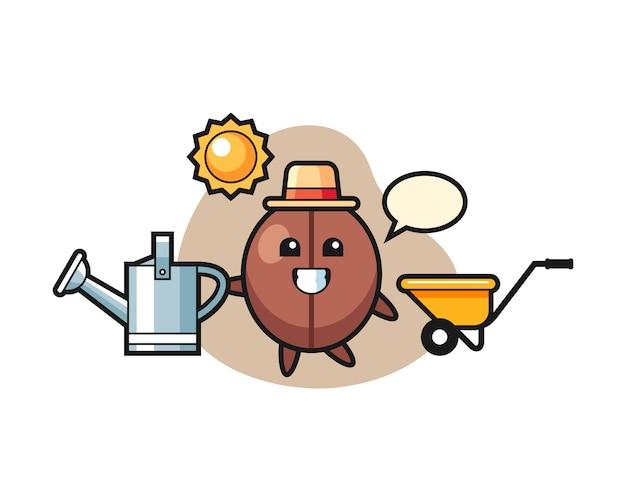 Coffee bean cartoon holding watering can