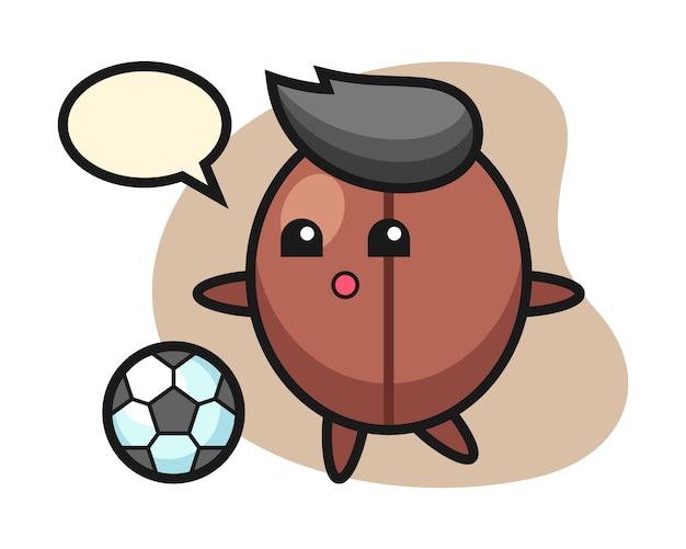 Мультфильм кофе в зернах играет в футбол