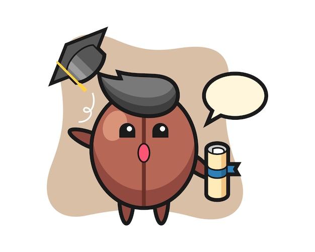 卒業式で帽子を投げるコーヒー豆の漫画