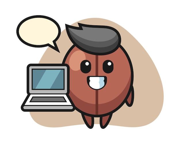 노트북으로 커피 콩 만화