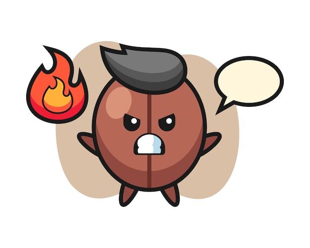 Coffee bean cartoon with angry gesture