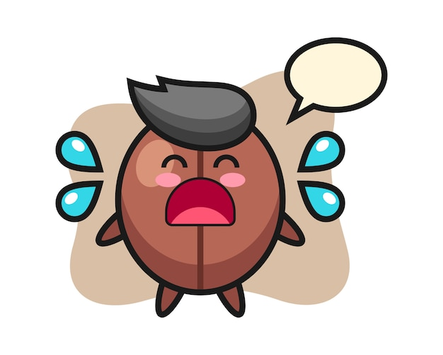 泣いているジェスチャーでコーヒー豆の漫画