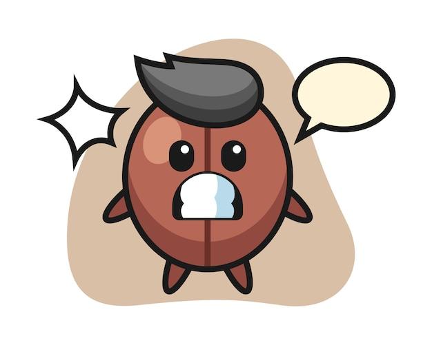 Coffee bean cartoon with shocked gesture