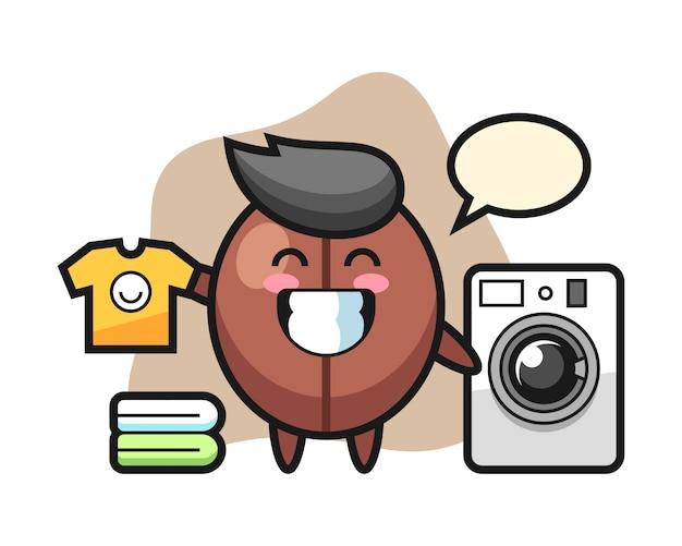 Кофейный боб мультфильм со стиральной машиной