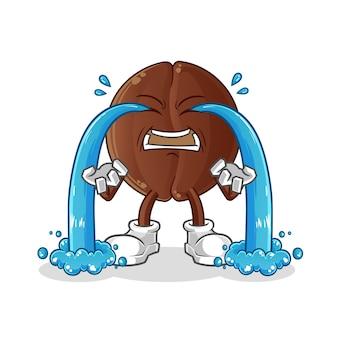 커피 콩 우는 그림. 캐릭터