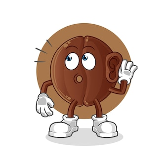 Coffee bean eavesdropping  . cartoon character