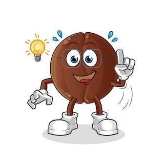 Coffee bean got an idea illustration. character