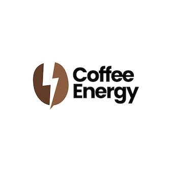 Coffee bean lightning thunder bolt energy logo vector icon illustration