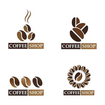 コーヒー豆のロゴとシンボルショップ画像ベクトル