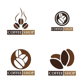 커피 콩 로고 및 기호 상점 이미지 벡터