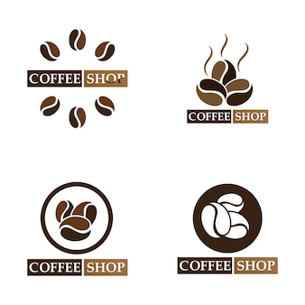 Coffee bean logo and symbol shop image vector