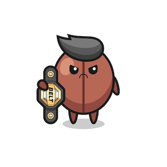 Coffee bean mascot character as a mma fighter with the champion belt , cute style design for t shirt, sticker, logo element