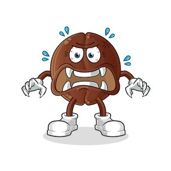 Coffee bean monster . cartoon character