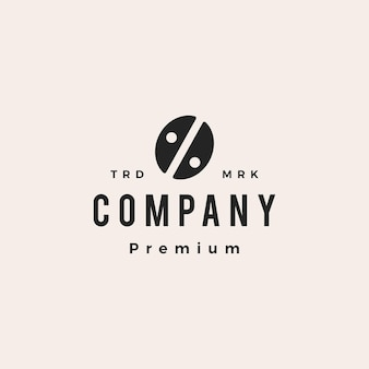 Coffee bean percent hipster vintage logo vector icon illustration