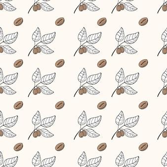 Coffee bean seamless pattern
