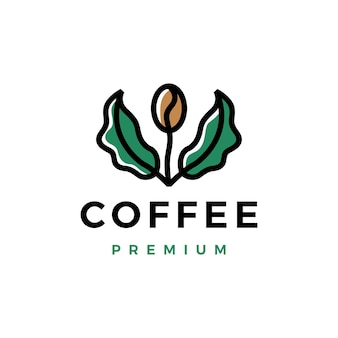 コーヒー豆の木の葉の芽のロゴのテンプレート