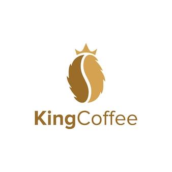 Coffee bean with crown king simple sleek creative geometric modern logo design
