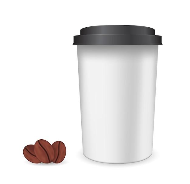 컵 플라스틱 3d 아이콘으로 커피 콩