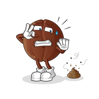 Coffee bean with stinky waste illustration. character