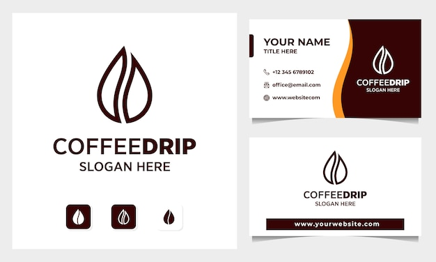 Coffee bean with water drop concept logo design, business card template