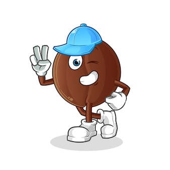 Coffee bean young boy character. cartoon mascot