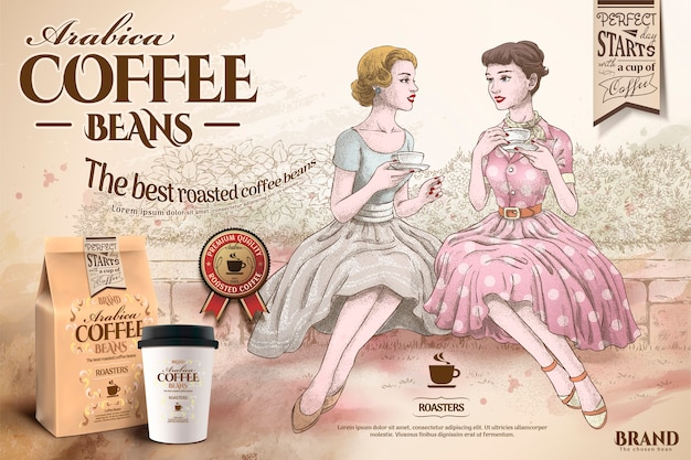 Coffee beans ads with retro women having afternoon tea together in hand drawn style