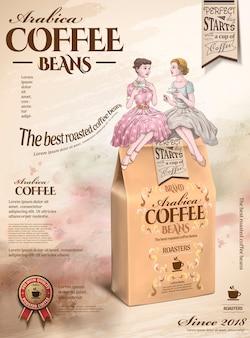 Реклама кофейных зерен с ретро женщинами, которые вместе пьют послеобеденный чай в рисованном стиле