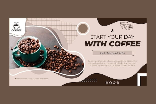 Coffee beans banner template