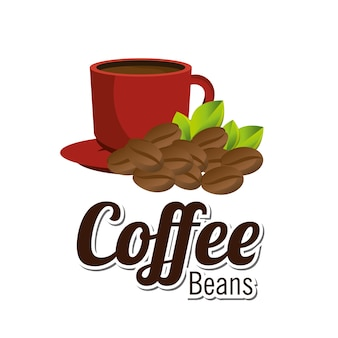 Coffee beans cup red graphic