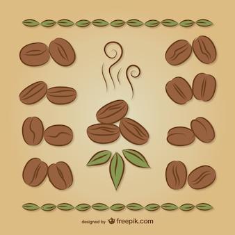 Кофе в зернах рисунки Бесплатные векторы