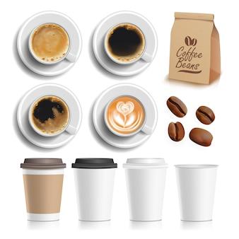 Кофейные зерна, напиток, чашка и пакет