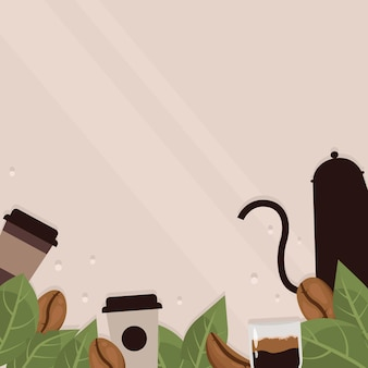 Coffee beans frame on beige background  coffee shop cups beans and leaves coffee
