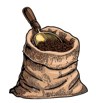 국자 handdrawn 스케치와 커피 콩의 가방 자루에 커피 콩