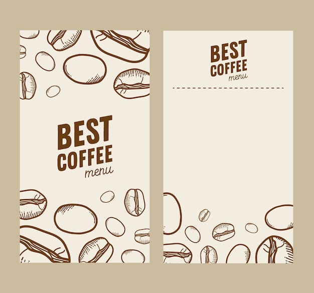 Coffee beans papers frames theme
